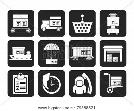 Silhouette Logistic, cargo and shipping icons