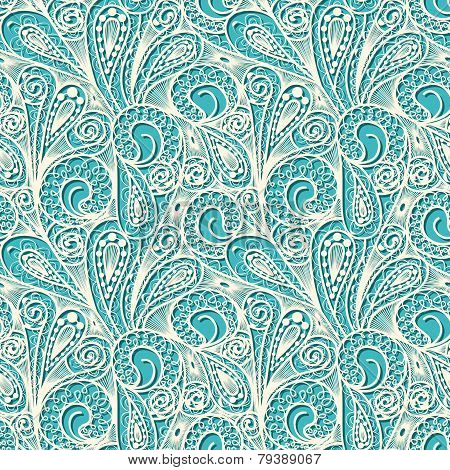 Seamless White Lace Pattern On Blue Teal Background
