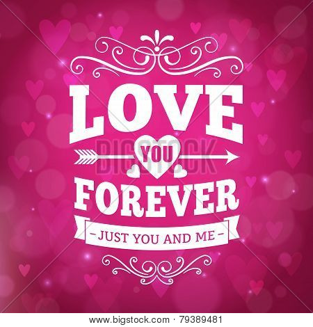 Love You Forever Typography Greeting Card Background