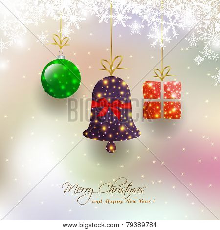 Christmas Card With Hanging Bauble,gift Box,bell On Magical Snowfall Background