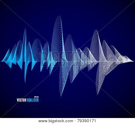 Vector equalizer, musical bar. Dark background