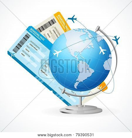 Vector tickets and globe, travel concept