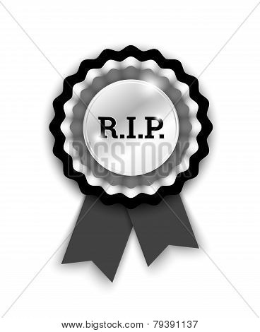 Black Rosette With Letters R.i.p.