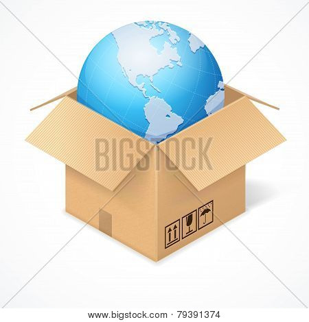 Opened cardboard box and globe, isolated on white