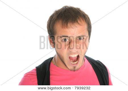Gritos de la joven malicioso sin afeitar