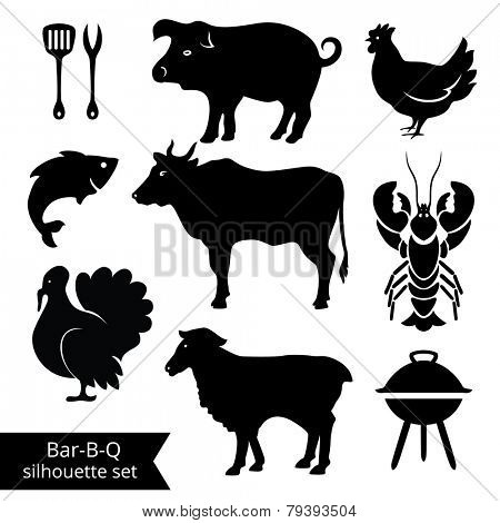 Set of BBQ silhouettes on white background. Could be used as icons.