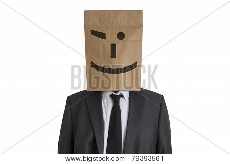 Man With Paper Bag With Smiley On His Head