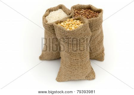 Bags Of Cereals. Set Cereals.