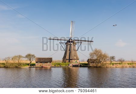 Octagonal Thatched Windmill In Kinderdijk Netherlands