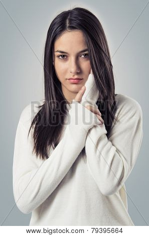 Young teenager brunette girl candid portrait