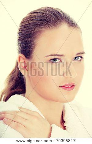 Young beautiful caucasian woman after bath.
