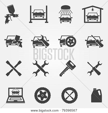 Auto service and repair icon set
