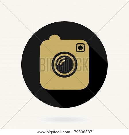 Camera Vector Icon With Flat Design. Black and Golden Colors