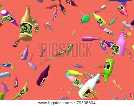 Flying Bottles Generated 3D Background