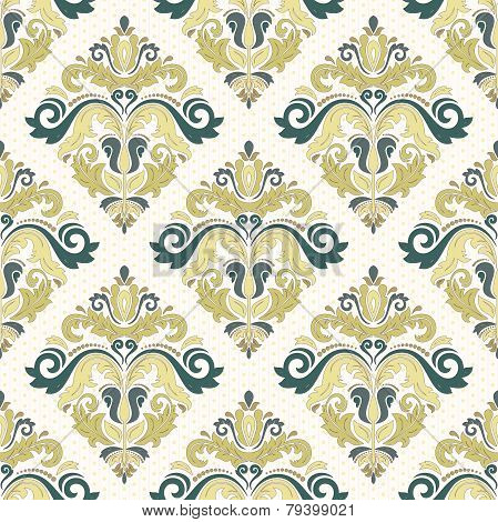 Damask Seamless Vector Pattern. Orient Coloful Background