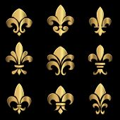 picture of fleur de lis  - Set of gold Fleur De Lis elements - JPG