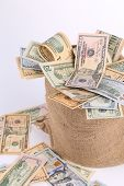 picture of sack dollar  - Full sack with dollar bills - JPG