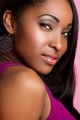 image of african american woman  - Pretty black african american woman portrait closeup - JPG