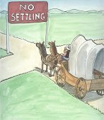 foto of covered wagon  - An analogy for business that mediocre performance is not allowed - JPG