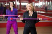 image of step aerobics  - Two smiling sporty pretty girls practice step aerobics with dumbbells in sports hall - JPG
