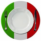 image of italian flag  - Concept of Italian cuisine with white plate and under plate colored with the colors of Italian flag and silver cutlery isolated on white background - JPG