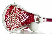 foto of lax  - White Lacrosse Head with Red Meshing and Grey Ball - JPG
