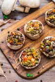 stock photo of portobello mushroom  - Portobello mushrooms stuffed with tomato - JPG