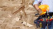 picture of carpenter  - Worker with construction tools - JPG