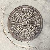 image of manhole  - Manhole cover in Beverly Hills - JPG