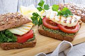 pic of tomato sandwich  - Sandwiches with pesto - JPG