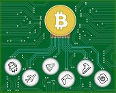 picture of bitcoin  - Vector conceptual illustration of electrical circuit and object symbols connected to bitcoin - JPG