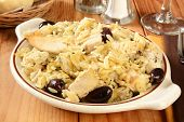 foto of kalamata olives  - Chicken with orzo spinach teta cheese sun dried tomatoes and kalamata olives - JPG