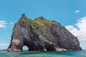 foto of abrasion  - famous Hole in the Rock in the Bay of Islands New Zealand - JPG