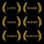 Постер, плакат: Golden Laurels Latin Music Genres: Mambo Salsa Bolero Tango and Mariachi