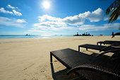 picture of recliner  - Beach view with recliner in Boracay Island in the Philippines - JPG