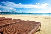 stock photo of recliner  - Beach view with recliner in Boracay Island in the Philippines - JPG