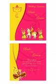 pic of dhol  - vector illustration of Indian wedding invitation card - JPG