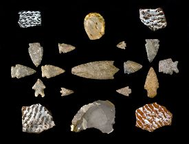 stock photo of arrowheads  - Texas arrowheads and pottery sherds made around 1500 years ago - JPG