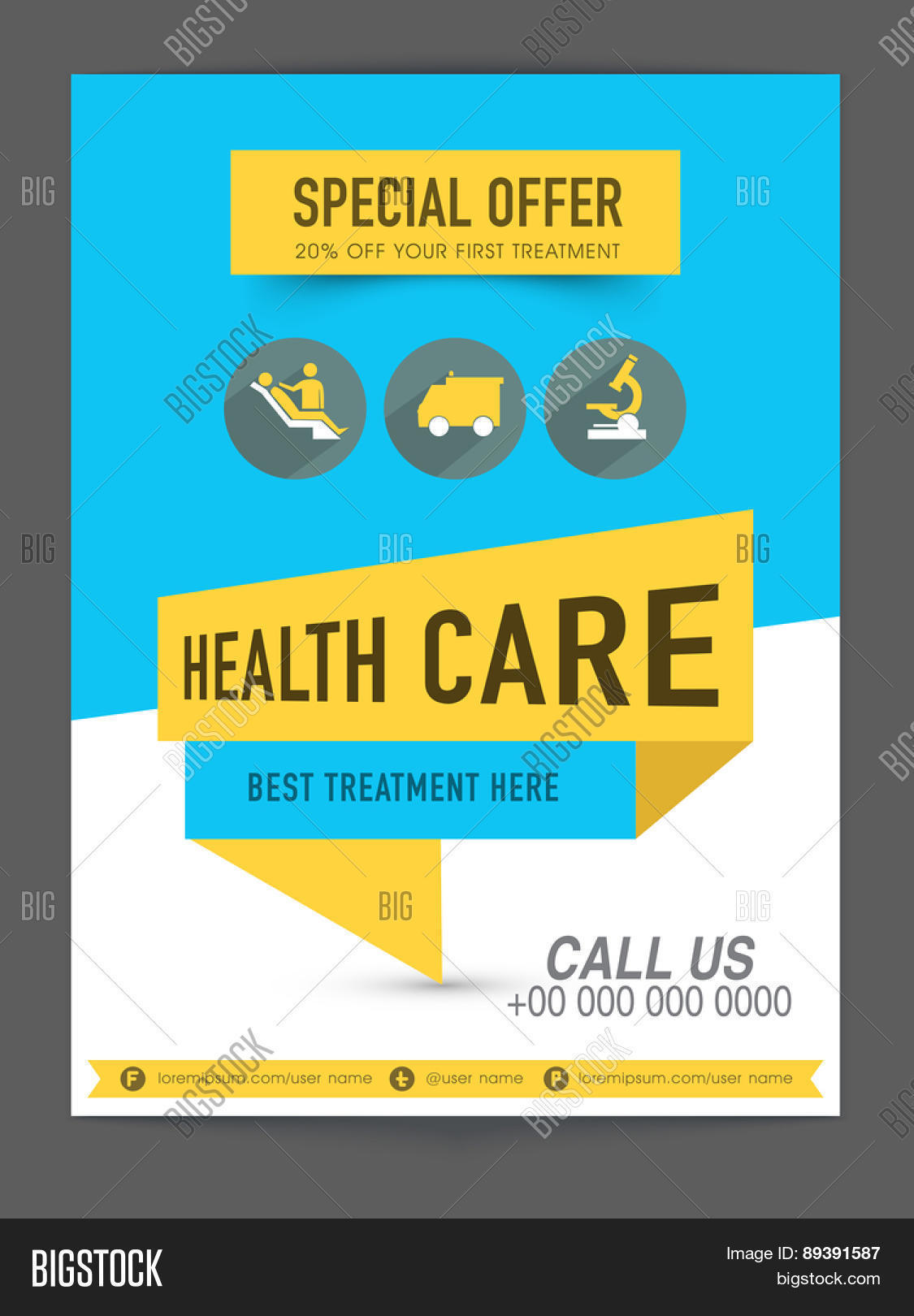 health care flyer presentation showing special discount offer on health care flyer presentation showing special discount offer on first treatment medical icons