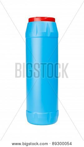 Blue Plastic Bottle Of Cleaning Detergent Powder