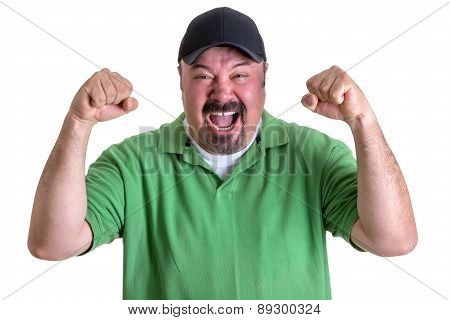 Bearded Man In Green Shirt Yelling Out Loud