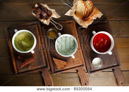 Three different traditional Ukrainian Russian cuisine