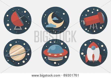 Space Icon set. Flat desing style