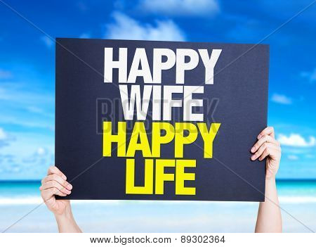 Happy Wife Happy Life card with beach background