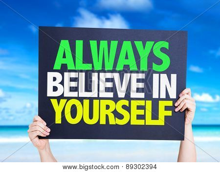Always Believe in Yourself card with beach background
