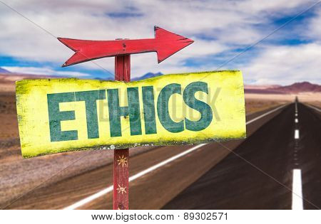 Ethics sign with road background
