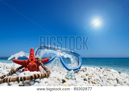 Diving Mask Under A Shining Sun