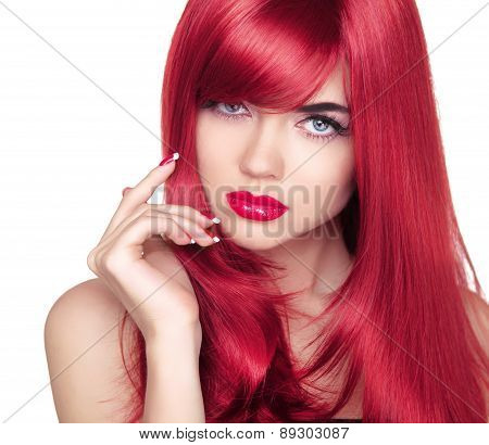 Beautiful Attractive Model Portrait With Long Red Hair. Blue Eyes. Fashion Girl Isolated On White Ba