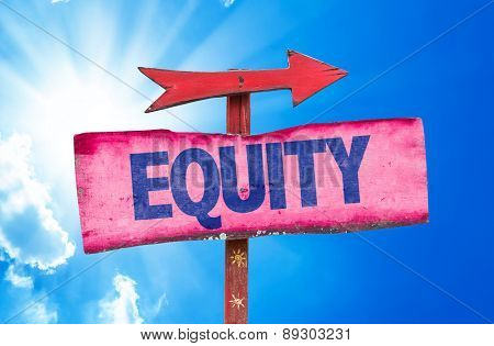 Equity sign with sky background
