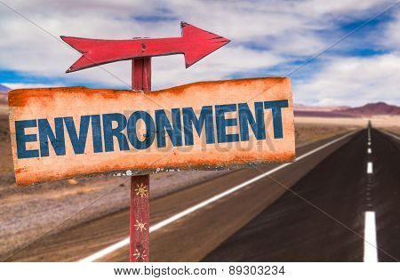 Environment sign with road background